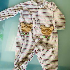 Baby 1st Christmas sleeper 0-3 m bear pockets